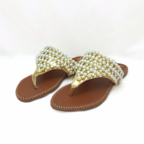 Sandália Rasteira Dourada Com Pérolas - Nº 34 - Cód: 0000099