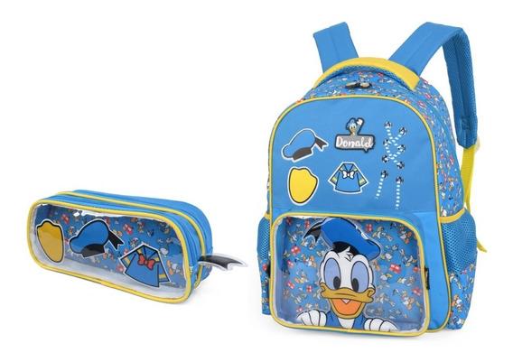 Kit Mochila De Costa 15 + Estojo Disney Donald