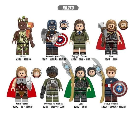 Groot Cap America Peggy Thor Jane Loki Steve Tipo Lego X0273