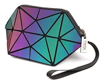Tikea Geometric Handbag Wristlets Luminous Holographic Cosme