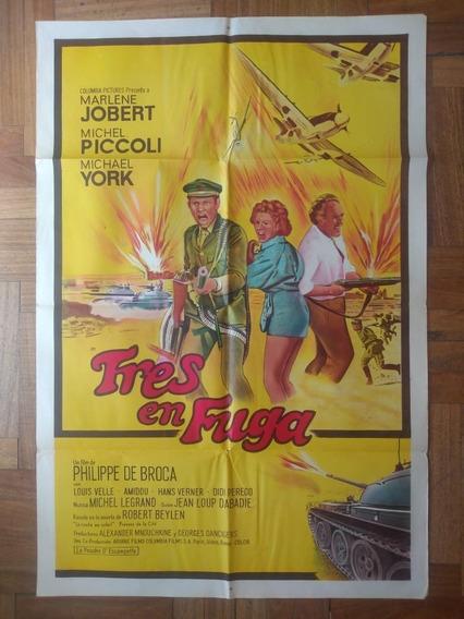 Antiguo Afiche Original D Cine- Tres En Fuga
