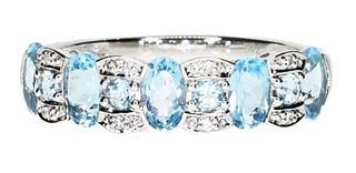 Anillo Cintillo Light Blue Topaz Y Diamantes - Oro 18 Kts.