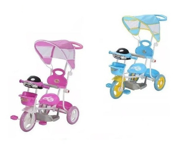 Triciclo Capota Infantil Cesta Haste Empurrar Luzes Pedalar