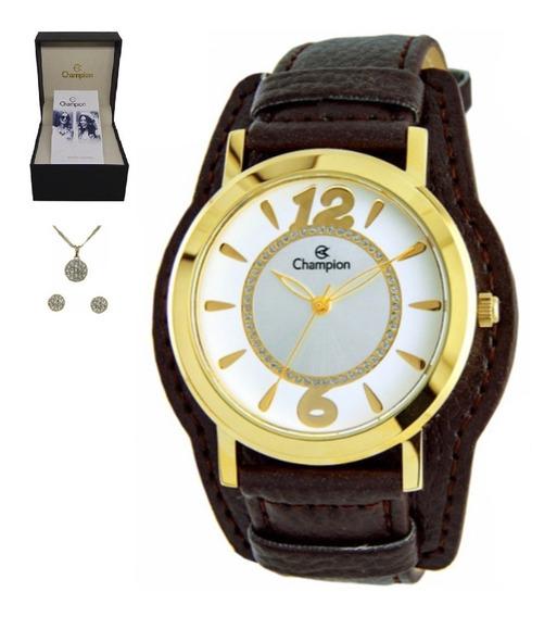 Relógio Champion Feminino Pulseira Couro Cn20284w Kit