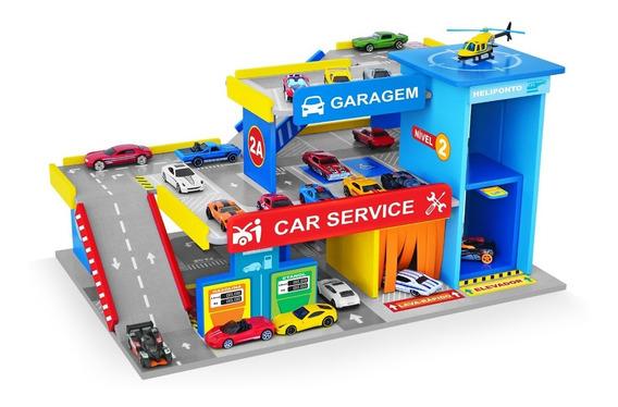 Brinquedo Car Service Postinho Garagem Mdf Hotwheels Junges