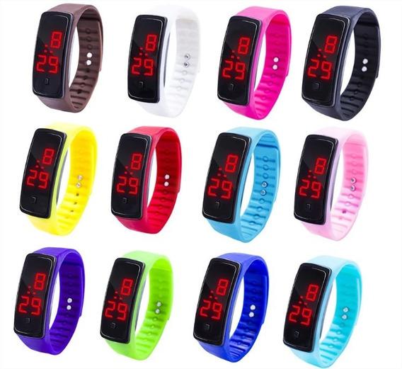 Kit 6 Relógio Led Digital Esportivo Feminino Masculino Lote