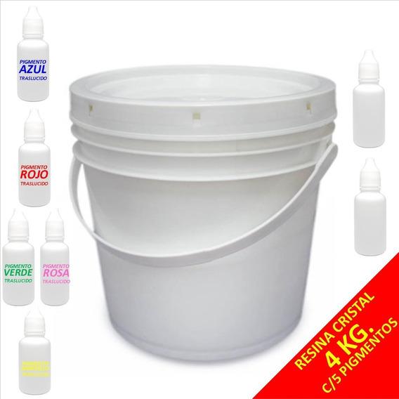 Resina Cristal Preparada 4kg + 5 Pigmentos Traslucidos
