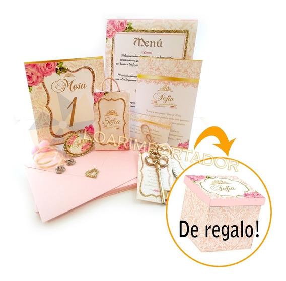 Tarjetas Invitacion Kit 15 Años Completo Shabby Princesa X50
