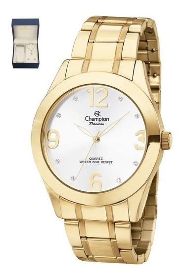 Kit Relógio Champion Feminino Dourado Garantia Ch24268d