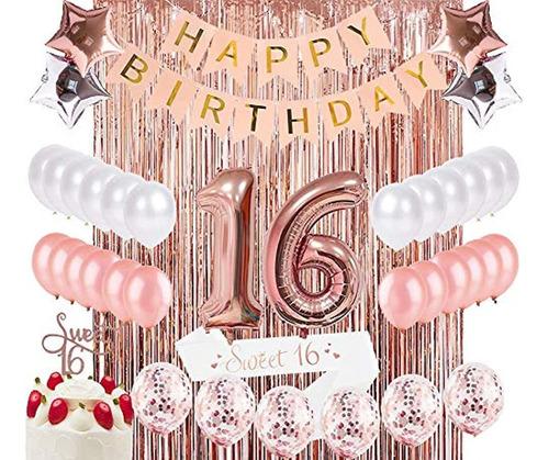 Kit De Decoración De Celebración Cumpleaños 16 Niñas