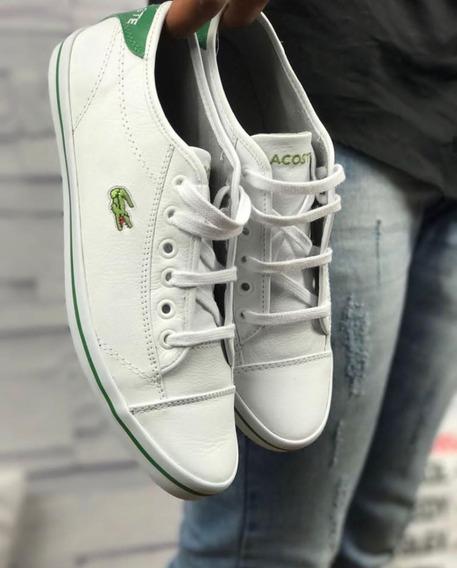 Tenis Masculino Sapatenis Lacoste Casual Couro Branco/verde