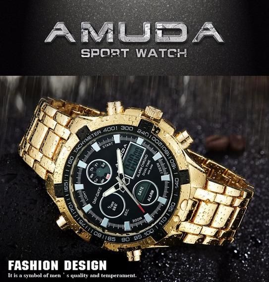 Relógio Masculino Amuda Dourado Com Preto Analógico/digital!
