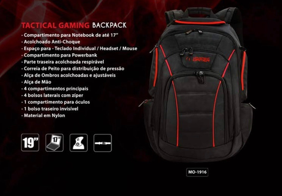 Mochila Para Notebook Leadership Tactical Gaming Backpack