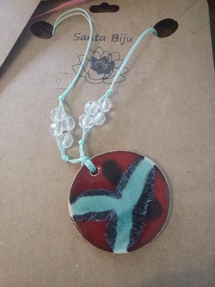 Colar De Cerâmica Artesanal Peça Única Mandala Vermelha
