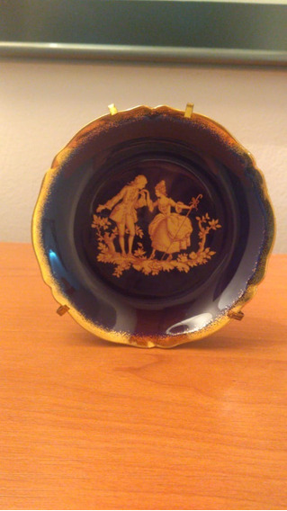 Plato Colección Porcelana Limoges France Escena Cobalto Oro