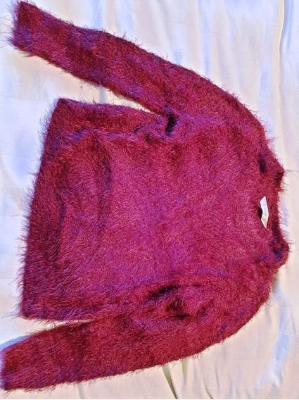 Sweater Nena Mango Bordeaux Talle 8-9 Años Peludo