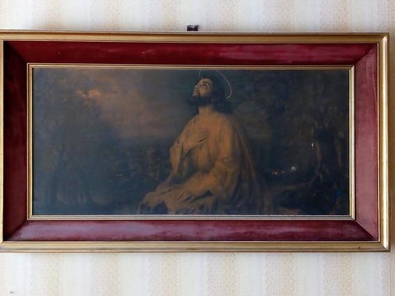 Cuadro Antiguo Jesus En El Huerto De Los Olivos - Flores Ba