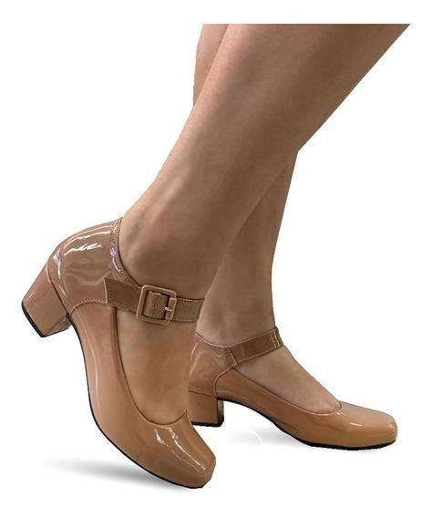 Sapato Lilha Shoes Feminino Confortavel Salto Baixo Grosso