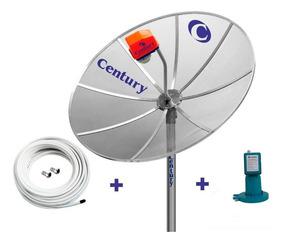 Tv Parabolica Century Antena 1,7m Lnbf Mono Cabo Conectores
