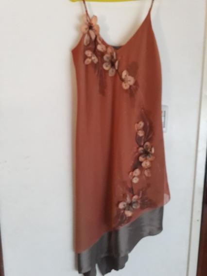 Vestido Color Cobre Con Flores