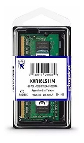 Memoria Ultrabook Kvr16ls11 Kingston 4gb 1600mhz Ddr3l 1.35v