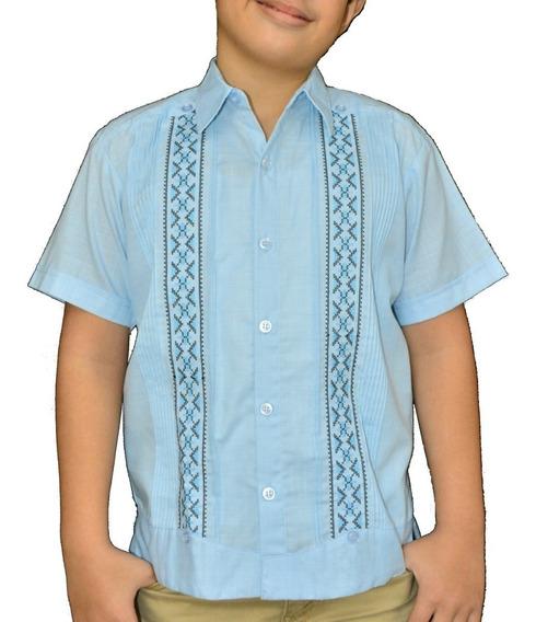 Camisa Guayabera Yucateca Casual Lino Niño Corta _cfkalx1113