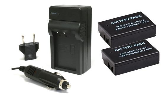 2 Baterias Lp-e17 Carregador P/ Canon Eos M3 M5 M6 Kiss X8i