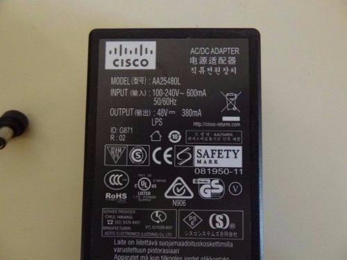 Fonte Cisco 48v - Aironet Access Points - Mod. Aa25480l