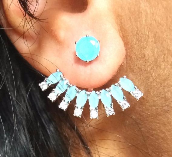 Brinco Feminino Ear Jacket Com Pedra Azul Claro Ródio Branco