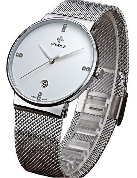 Relógio Masculino Branco Ultrafino Luxuoso Original C/ Caixa