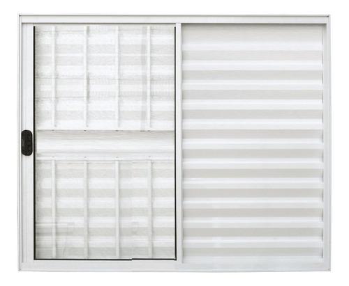 Veneziana 3 Folhas De Alumínio Branco Com Grade 1,00 X 1,20