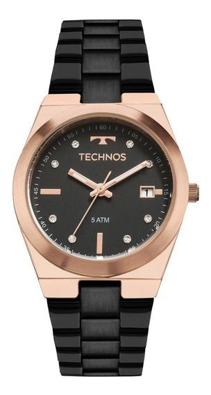 Relógio Technos Feminino Fashion 2115mnj/4p Preto Rose