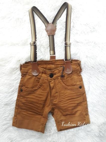 Bermuda Short Bebê Jeans Com Suspensório Menino 1 À 3 Anos