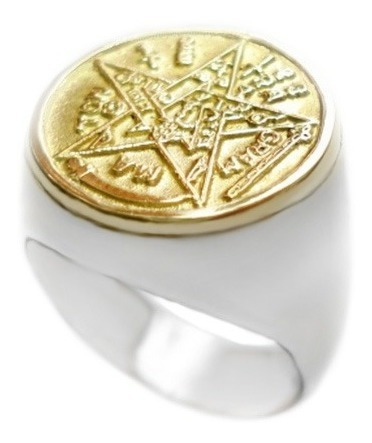 Anel Pentagrama Tetragrammaton Goetia Prata 950 *consagrado*