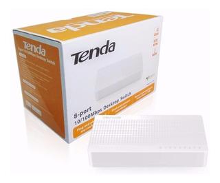 Switch Hub 8 Portas Tenda S108 10/100mbps 8p Mesa Rede Lan