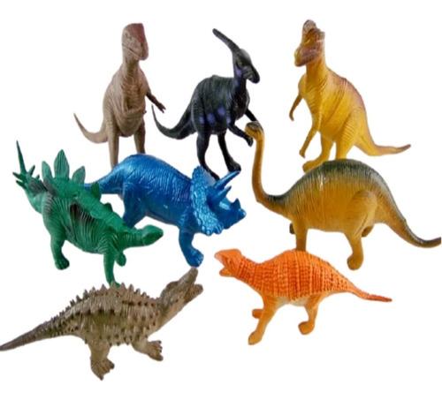 Dinossauro De Brinquedo Kit Coleção 8 Peças De Borracha