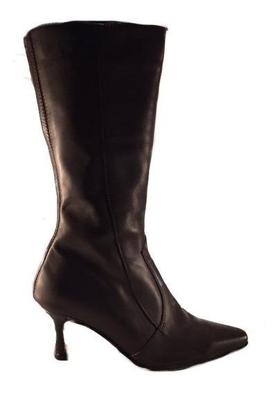 Bota Larga Cierre Taco Fino Mujer Cuero Shoestore