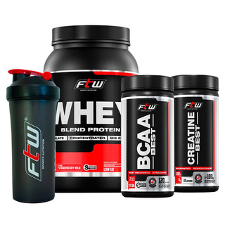 Kit Suplemento Whey Blend Morango + Bcaa + Creatina