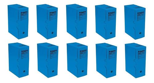 Arquivo Morto Plastico Azul 335x133x252 Kit C/10 Polibras