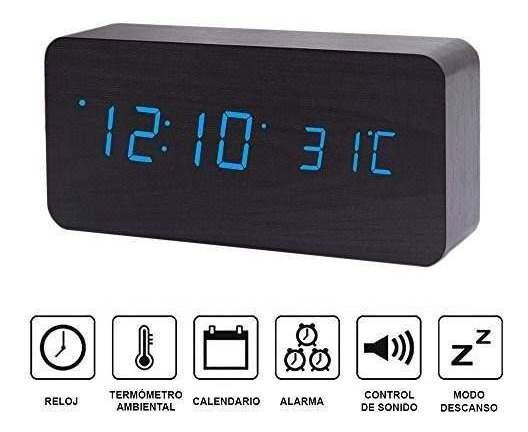 Redlemon Reloj Despertador Digital Minimalista De Madera Co