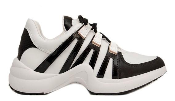 Zapatillas Mujer Cuero Ecológico Blanco Negro Pitón Ramarim