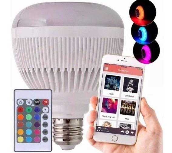 Lampada Led 6w Rgb Caixa Som Bluetooth Controle Mp3 Incrível