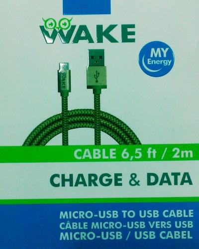 Cable Wake Micro Usb Metalizado 2 Mts Dorado