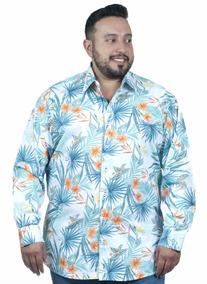 Camisa Plus Size Bigshirts Manga Longa Estampa Trop - Branca