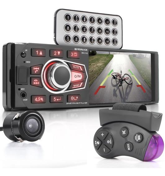 Som Radio Automotivo Mp5 Bluetooth Carro Briwax Câmera De Ré