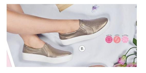 Zapato Cklass Dama Casual Oro Viejo Piel Ligero 24 Horas