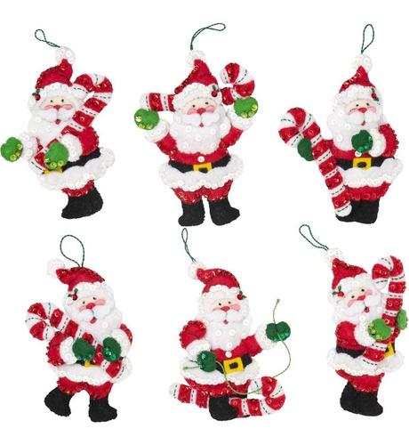 Imagen 1 de 2 de Bucilla Juego De 6 Adornos Santa Claus P/ Arbol. Confeccion