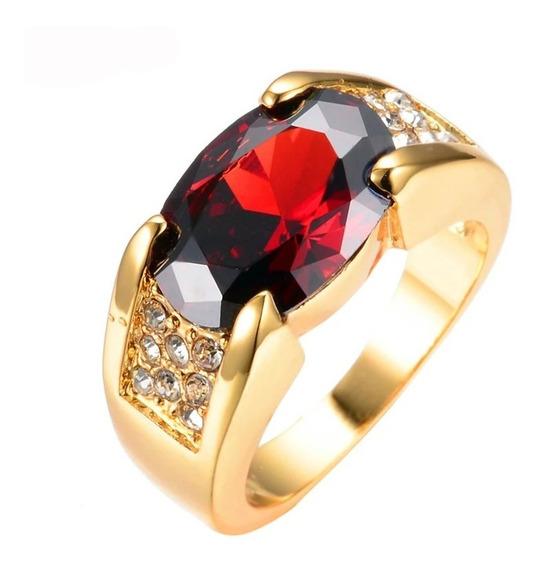 Anel Banhado Pedra Vermelha Rubi - Unissex - Luxo