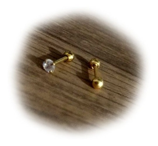 Piercing 2 Unidades: Zirconia Dourado + Barbell Bolinha