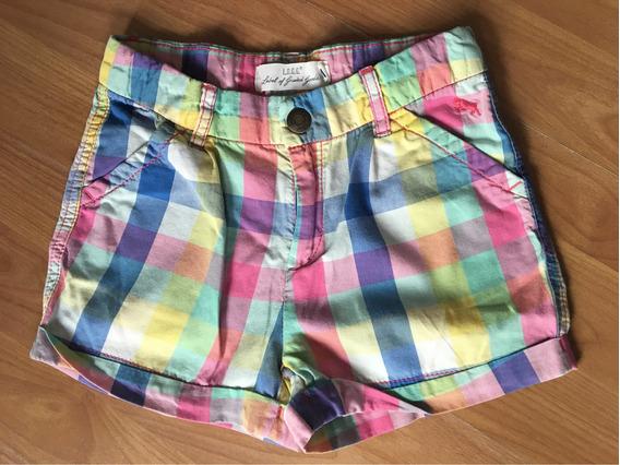 Short Cuadros Multicolor De Niña H&m L.o.g.g. Talla 6-7